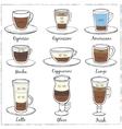 set coffee decorative icons vector image
