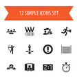 set of 12 editable mixed icons includes symbols vector image vector image