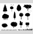 set silhouettes of trees 2 vector image vector image