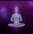 shiny yoga meditation female silhouette vector image