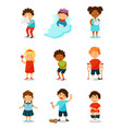 sickness kids set boys and girls suffering from vector image vector image