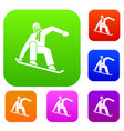 snowboarder set collection vector image vector image