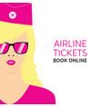 stewardess blonde in pink uniforms with booking vector image vector image