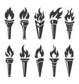 torch icons set torches with flame and burning vector image