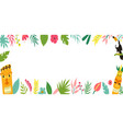 trendy hawaiian summer tropical banner with leaves vector image