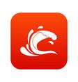 water wave splash icon digital red vector image vector image