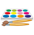 watercolor palette and two paintbrushes vector image