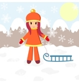Winter girl and sledge vector image vector image