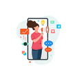woman on smartphone screen holding megaphone vector image vector image