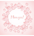 pink background with valentine heart flowers vector image