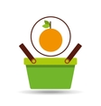 green basket fresh orange design icon vector image