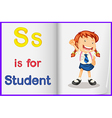A picture of a student in a book vector image vector image