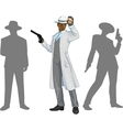 Afroamerican police chief and people silhouettes vector image vector image