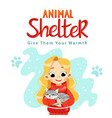 animal shelter design poster with child cat