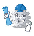 architect gear on style character shape funny vector image vector image