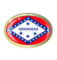 arkansas state flag oval button vector image vector image