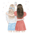 best friends forever two girls having fun making vector image vector image