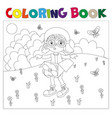 black and white book-coloring the boy plays in the vector image