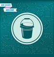 bucket icon on a green background with arrows in vector image