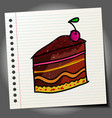 cake hand drawn cake colorful cartoon style vector image
