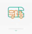 camping truck thin line icon vector image