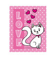 Cat in love Valentine card vector image vector image