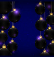 christmas balls in black color on blue background vector image vector image