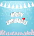 christmas blue poster with xmas tree vector image vector image