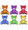 Colorful teddy bears vector image vector image