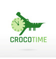 crocodile alligator wild animal icon text vector image