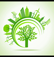 Ecology Concept - eco cityscape with tree vector image vector image
