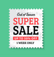 end of season super sale stamp vector image