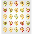 Farm Field flat mapping pin icon with long shadow vector image vector image