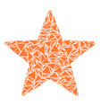 five pointed star mosaic of triangles vector image vector image