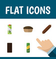 flat icon eating set of smoked sausage tart vector image vector image