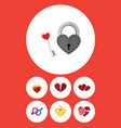 flat icon heart set of present key soul and vector image vector image