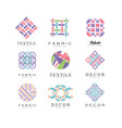 flat set of abstract logos for fabric vector image vector image