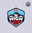 football soccer team with mountain emblem logo vector image vector image