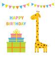 happy birthday greeting card giraffe with spot vector image