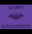 happy halloween of the bat silhouette on violet vector image vector image