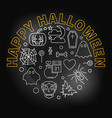 happy halloween round creative holiday line vector image vector image