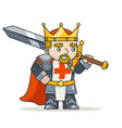 king warrior knight krown sword fantasy medieval vector image
