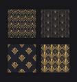 modern art deco seamless pattern gold black set vector image