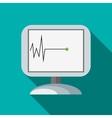 Monitor recorded cardiac arrest icon flat style