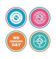 No smoking day icons Against cigarettes vector image