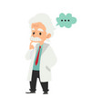 old male scientist stands with thinking gesture vector image