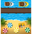 People on the beach and boats in the sea vector image