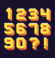 pixel numbers retro 8 bit pixels number font vector image vector image