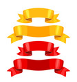 realistic gold and red ribbons set banners vector image