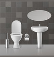 realistic toilet interior white toilets mockup vector image